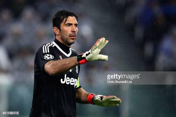 Gianluigi Buffon of Juventus gestures during the UEFA Champions League Quarter Final first leg match between Juventus and Real Madrid at Juventus...