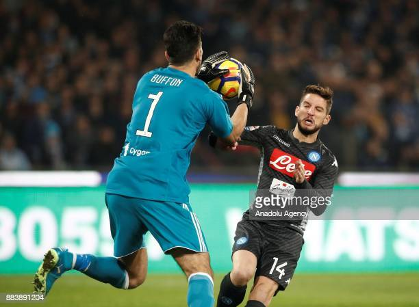 Gianluigi Buffon of Juventus in action against Dries Mertens of SSC Napoli during the Serie A football match between SSC Napoli and FC Juventus at...