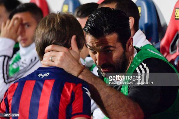 Gianluigi Buffon of Juventus in action during the serie A match between FC Crotone and Juventus at Stadio Comunale Ezio Scida on April 18 2018 in...
