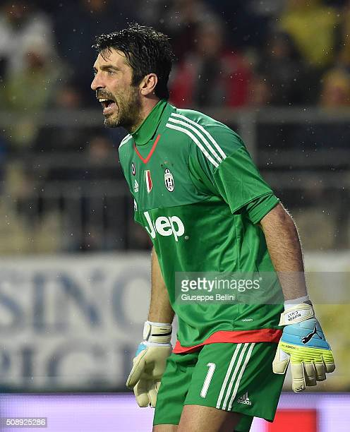 Gianluigi Buffon of Juventus in action during the Serie A match between Frosinone Calcio and Juventus FC at Stadio Matusa on February 7 2016 in...
