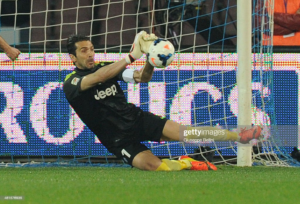 Gianluigi Buffon of Juventus in action during the Serie A match between SSC Napoli and Juventus at Stadio San Paolo on March 30, 2014 in Naples, Italy.