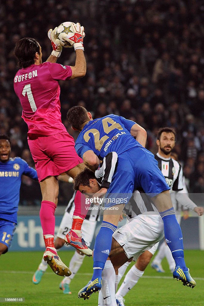 Gianluigi Buffon of Juventus in action during the UEFA Champions League Group E match between Juventus and Chelsea FC at Juventus Arena on November 20, 2012 in Turin, Italy.