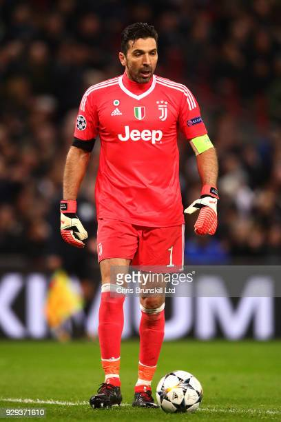 Gianluigi Buffon of Juventus in action during the UEFA Champions League Round of 16 Second Leg match between Tottenham Hotspur and Juventus at...