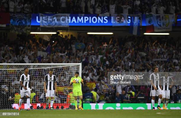 Gianluigi Buffon of Juventus is dejected after Real Madrid fourth goal during the UEFA Champions League Final between Juventus and Real Madrid at...