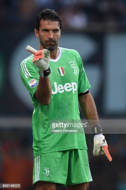 Gianluigi Buffon of Juventus issues instructions during the Serie A match between Genoa CFC and Juventus at Stadio Luigi Ferraris on August 26 2017...