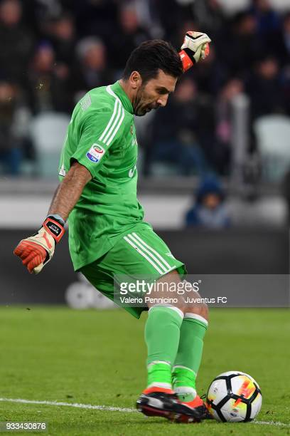 Gianluigi Buffon of Juventus kicks the ball during the Serie A match between Juventus and Atalanta BC on March 14 2018 in Turin Italy