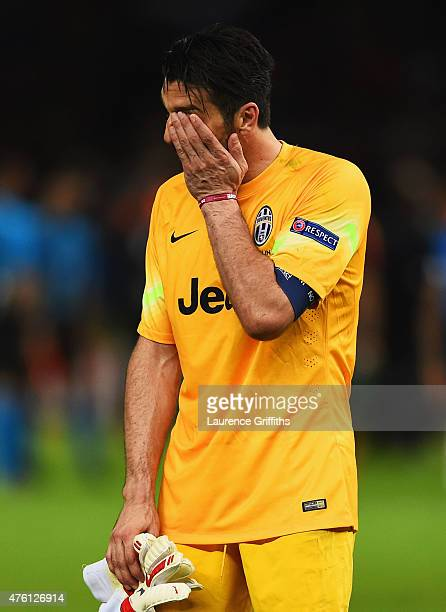 Gianluigi Buffon of Juventus looks dejected after the UEFA Champions League Final between Juventus and FC Barcelona at Olympiastadion on June 6 2015...