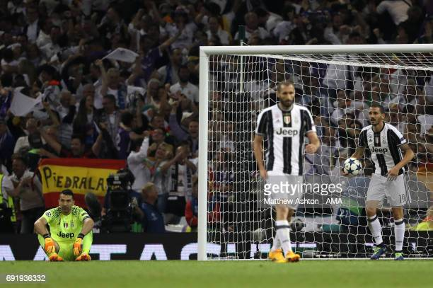 Gianluigi Buffon of Juventus looks dejected during the UEFA Champions League Final between Juventus and Real Madrid at National Stadium of Wales on...