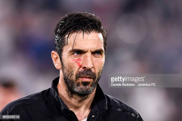 Gianluigi Buffon of Juventus looks on before the serie A match between Juventus and SSC Napoli on April 22 2018 in Turin Italy