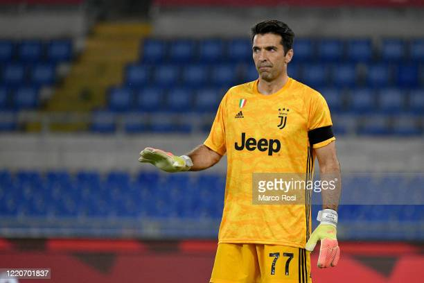 Gianluigi Buffon of Juventus looks on during the Coppa Italia Final match between Juventus and SSC Napoli at Olimpico Stadium on June 17 2020 in Rome...