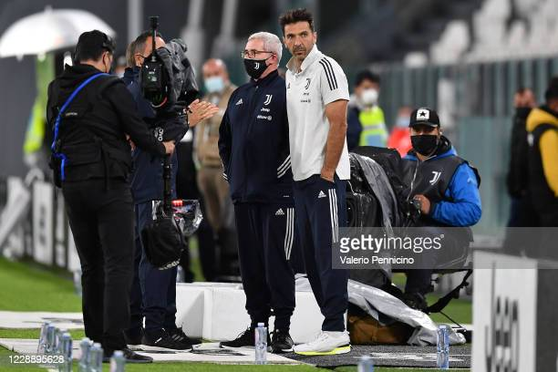 Gianluigi Buffon of Juventus looks on during the Serie A match between Juventus and SSC Napoli at on October 4, 2020 in Turin, Italy.