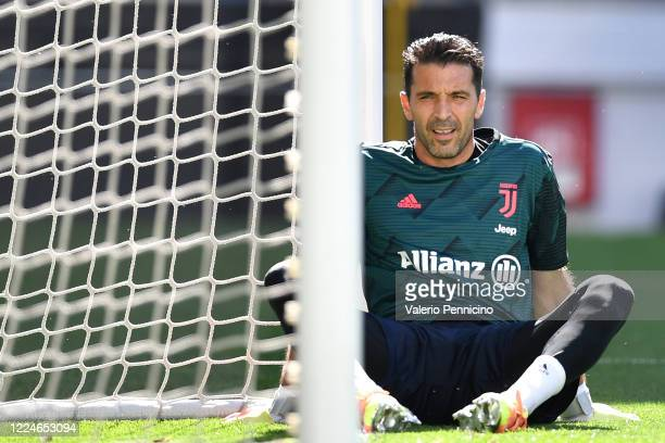 Gianluigi Buffon of Juventus looks on prior to the Serie A match between Juventus and Torino FC at Allianz Stadium on July 4 2020 in Turin Italy