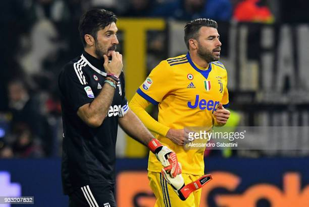 Gianluigi Buffon of Juventus reacts after the serie A match between Spal and Juventus at Stadio Paolo Mazza on March 17 2018 in Ferrara Italy