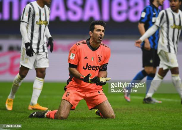 Gianluigi Buffon of Juventus reacts during the Coppa Italia semi-final match between FC Internazionale and Juventus at Stadio Giuseppe Meazza on...