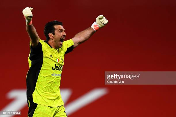 Gianluigi Buffon of Juventus reacts during the TIMVISION Cup Final between Atalanta BC and Juventus on May 19, 2021 in Reggio nell'Emilia, Italy. A...