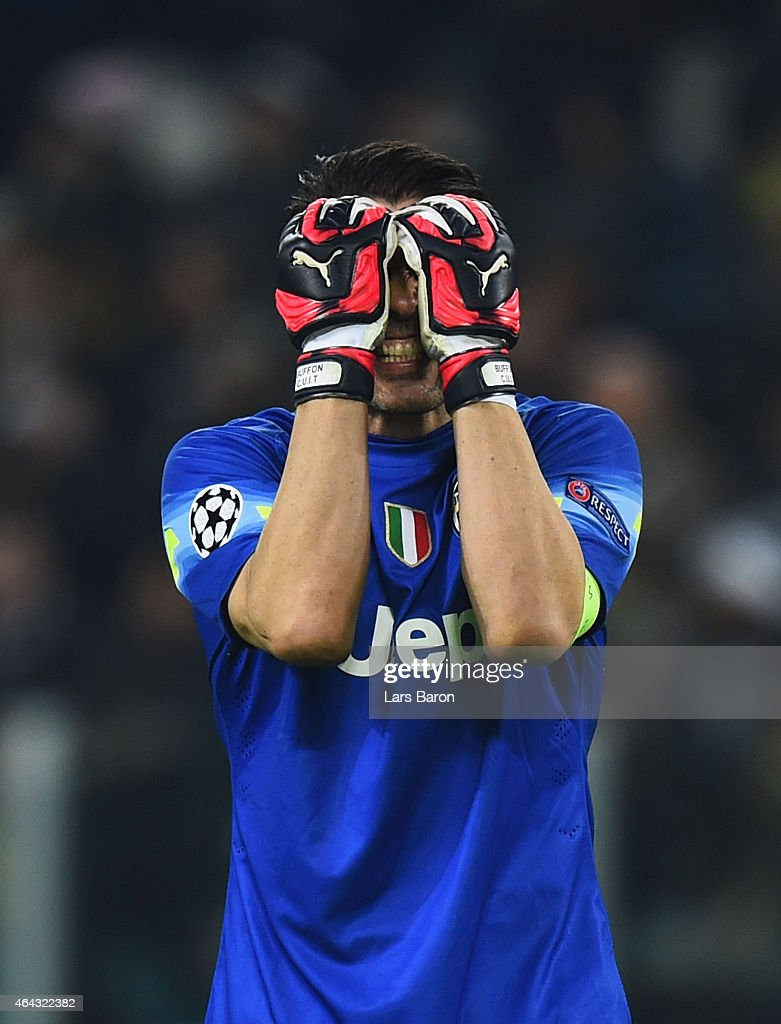 Gianluigi Buffon of Juventus reacts during the UEFA Champions League Round of 16 first leg match between Juventus and Borussia Dortmund at Juventus Arena on February 24, 2015 in Turin, Italy.
