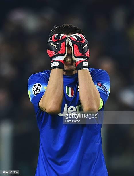 Gianluigi Buffon of Juventus reacts during the UEFA Champions League Round of 16 first leg match between Juventus and Borussia Dortmund at Juventus...