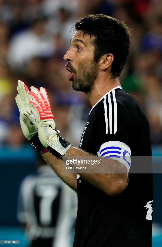 Gianluigi Buffon #1 of Juventus reacts during their International Champions Cup 2017 match against the Paris Saint-Germain at Hard Rock Stadium on July 26, 2017 in Miami Gardens, Florida.