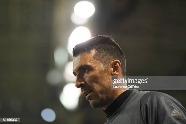 Gianluigi Buffon of Juventus walks out ahead of a Juventus training session prior to the UEFA Champions League Final between Juventus and Real Madrid...