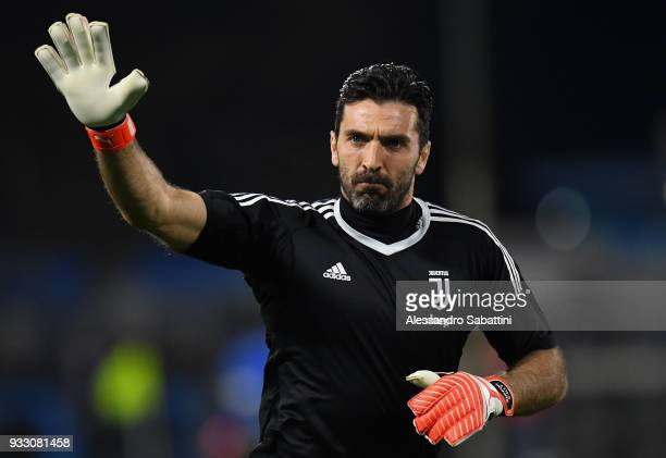 Gianluigi Buffon of Juventus warms up before the serie A match between Spal and Juventus at Stadio Paolo Mazza on March 17 2018 in Ferrara Italy