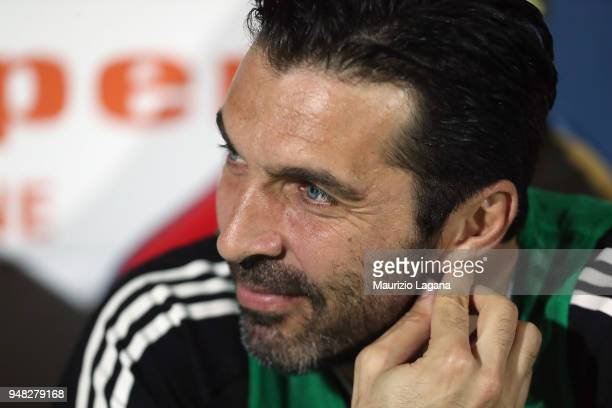 Gianluigi Buffon of Juvnetus during the serie A match between FC Crotone and Juventus at Stadio Comunale Ezio Scida on April 18 2018 in Crotone Italy