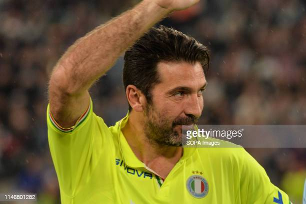 Gianluigi Buffon of Nazionale Italiana Cantanti seen making a gesture during the 'Partita Del Cuore' Charity Match at Allianz Stadium. Campioni Per...