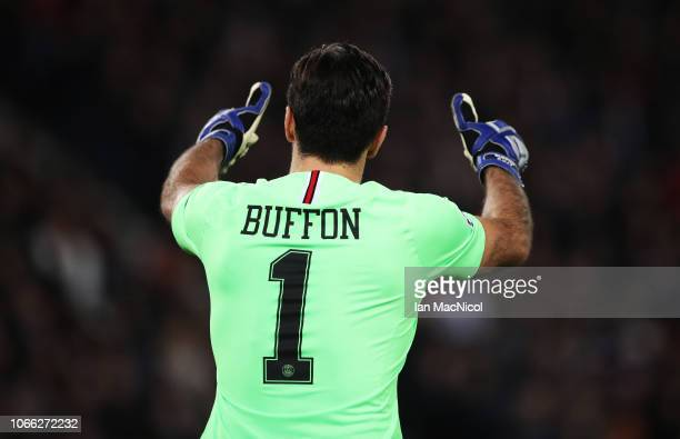 Gianluigi Buffon of Paris SaintGermain gestures during the Group C match of the UEFA Champions League between Paris SaintGermain and Liverpool at...