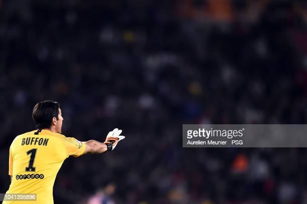 Gianluigi Buffon of Paris Saint-Germain reacts during the Ligue 1 match between Paris Saint-Germain and Stade de Reims at Parc des Princes on...