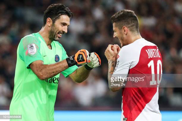 Gianluigi Buffon of Paris SaintGermain reacts with Stevan Jovetic of AS Monaco during the French Trophy of Champions football match between AS Monaco...