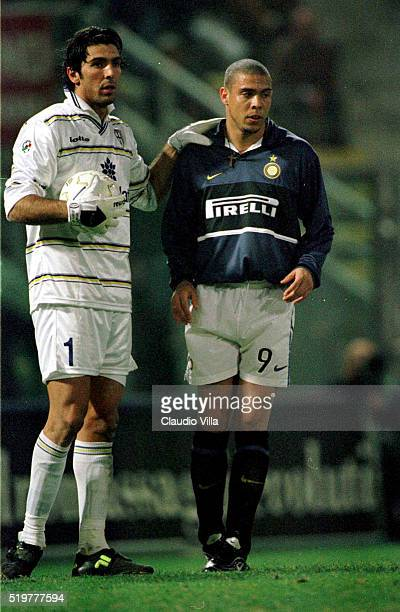 Gianluigi Buffon of Parma and Ronaldo of Inter Milan during Serie A match played between Parma and Inter Milan at Ennio Tardini stadium on April 09...
