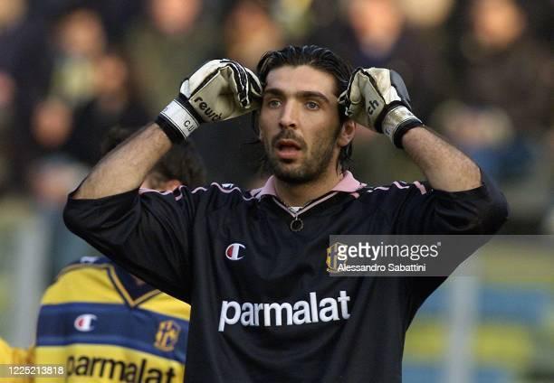 Gianluigi Buffon of Parma Calcio reacts during the Serie A 2000-01 Italy.