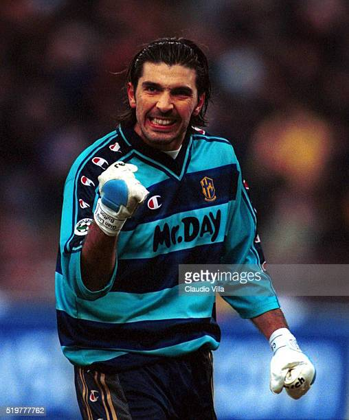 Gianluigi Buffon of Parma celebrates during Serie A match played between Parma and Inter Milan at Ennio Tardini stadium on January 13 2001 in Parma...