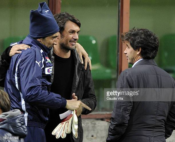 Gianluigi Buffon Paolo Maldini and Demetrio Albertini attend a training session ahead of their FIFA World Cup Brazil 2014 qualifier against Danimarca...