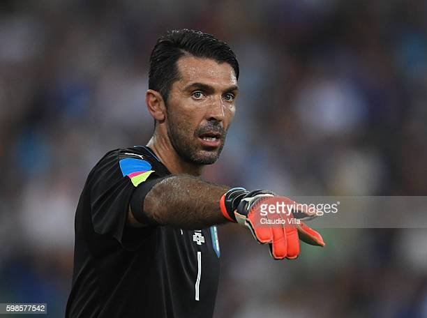 Gianluigi Buffon reacts during the international friendly match between Italy and France at Stadio San Nicola on September 1 2016 in Bari Italy