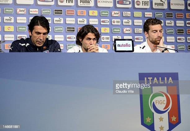 Gianluigi Buffon Salvatore Sirigu and Morgan De Sanctis of Italy attends a press conference at Casa Azzurri on June 22 2012 in Krakow Poland