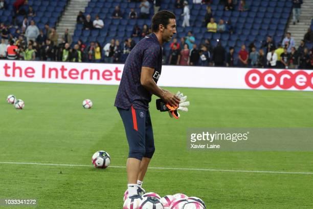 Gianluigi Bufon of Paris SaintGermain reacts during the French Ligue 1 match between Paris Saint Germain and AS Saint Etienne on September 14 2018 in...