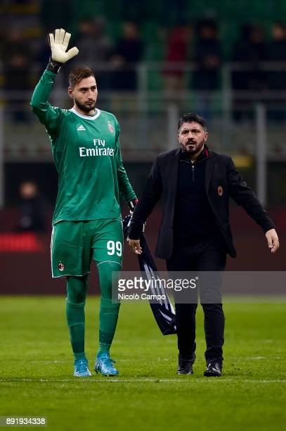 Gianluigi Donnarumma and Gennaro Gattuso of AC Milan greet the supporter at the end of the TIM Cup football match between AC Milan and Hellas Verona...
