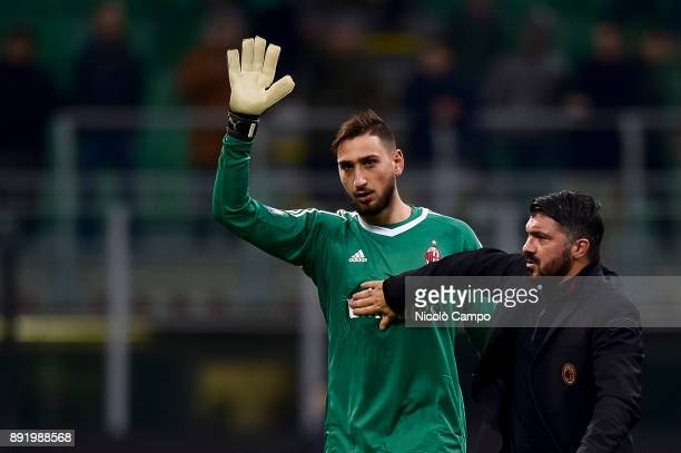 Gianluigi Donnarumma and Gennaro Gattuso of AC Milan greet the supporters at the end of the TIM Cup football match between AC Milan and Hellas Verona...