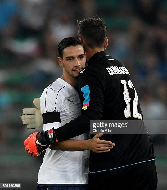 Gianluigi Donnarumma and Mattia De Sciglio reacts during the international friendly match between Italy and France at Stadio San Nicola on September...