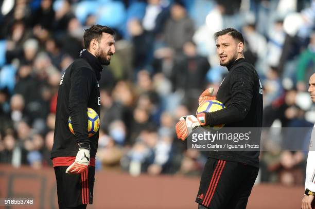 Gianluigi Donnarumma Antonio Donnarumma goalkeepers of AC Milan look on prior the beginning of the serie A match between Spal and AC Milan at Stadio...