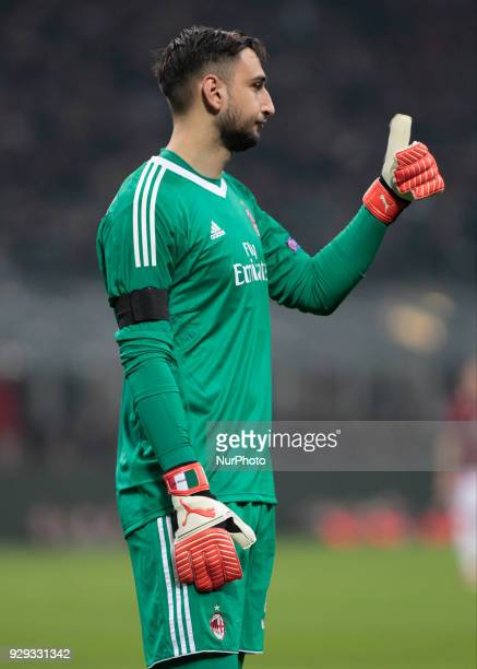 Gianluigi Donnarumma during the first leg of the round 16 of the UEFA Europa League 2017/18 between AC Milan and Arsenal FC at Giuseppe Meazza...