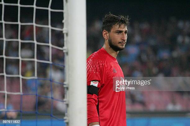 Gianluigi Donnarumma goalkeeper in action during soccer match between SSC Napoli and AC Milan at San Paolo Stadium in Napoli Final result Napoli vs...