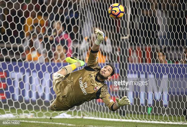 Gianluigi Donnarumma Goalkeeper of AC Milan in action during the Supercoppa TIM Doha 2016 match between Juventus FC and AC Milan at the Jassim Bin...