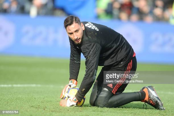 Gianluigi Donnarumma goalkeeper of AC Milan looks on prior the beginning of the serie A match between Spal and AC Milan at Stadio Paolo Mazza on...