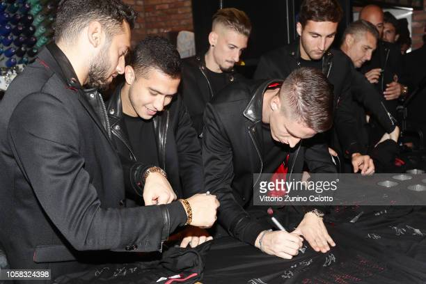 Gianluigi Donnarumma Jose Mauri and Andrea Conti attend Diesel Presents The AC Milan Special Collection on November 6 2018 in Milan Italy