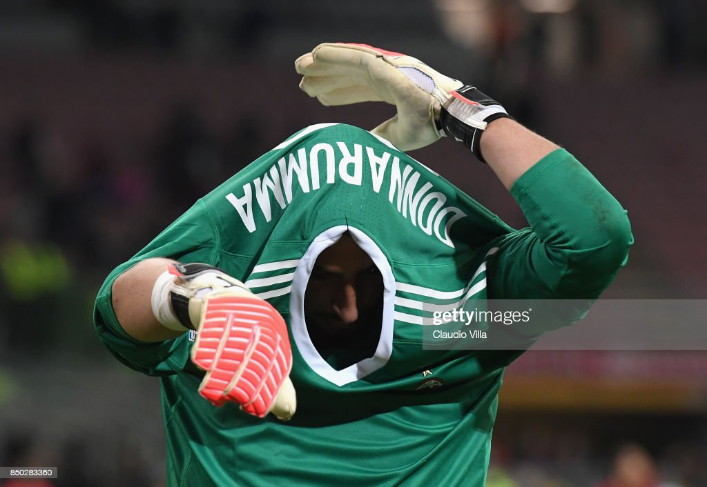 Gianluigi Donnarumma of AC Milan at the end of the Serie A match between AC Milan and Spal at Stadio Giuseppe Meazza on September 20, 2017 in Milan, Italy.