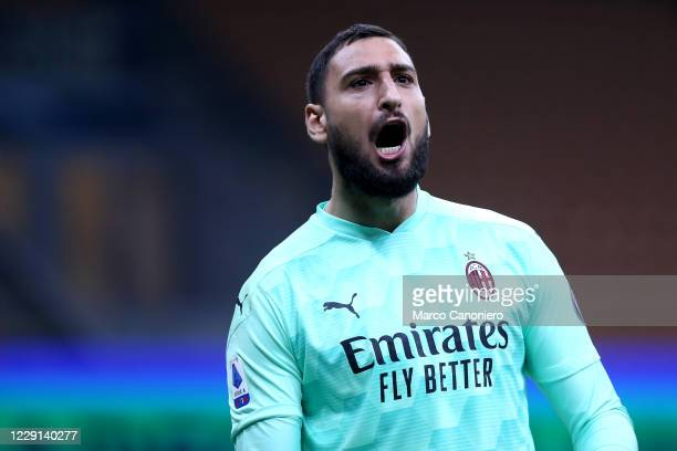 Gianluigi Donnarumma of Ac Milan celebrate at the end of the Serie A match between Fc Internazionale and Ac Milan Ac Milan wins 21 over Fc...