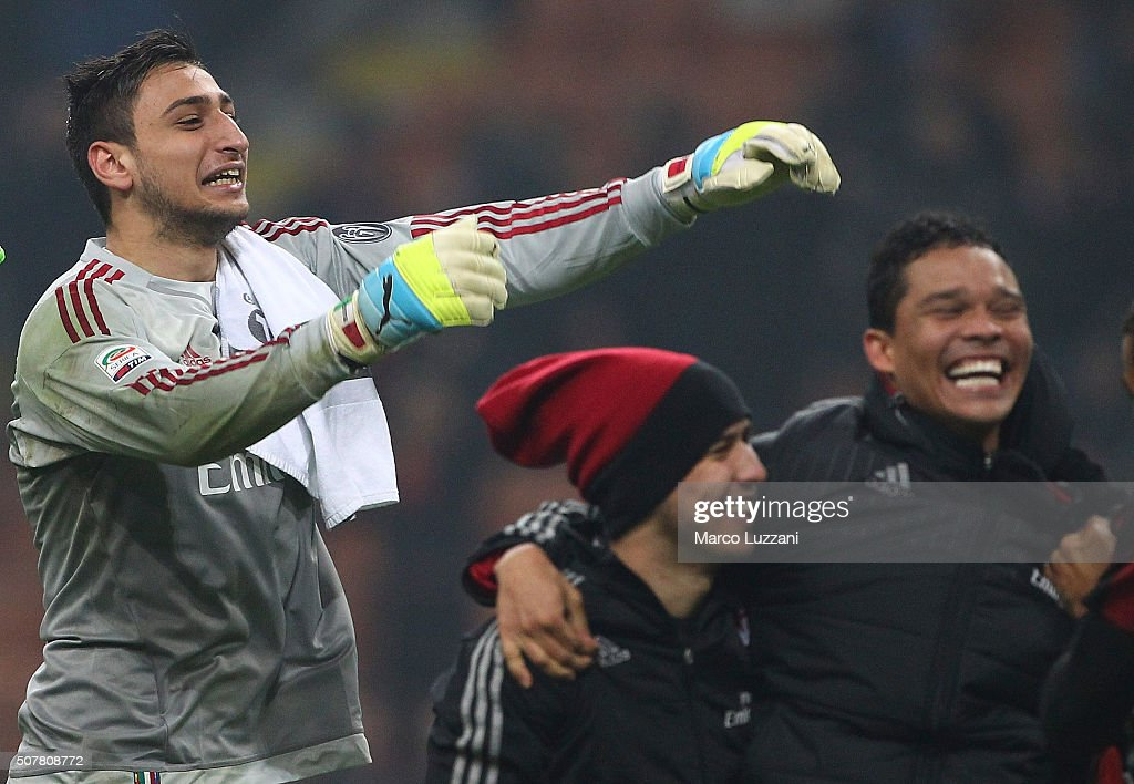 Gianluigi Donnarumma of AC Milan celebrates a victory at the end of the Serie A match between AC Milan and FC Internazionale Milano at Stadio Giuseppe Meazza on January 31, 2016 in Milan, Italy.