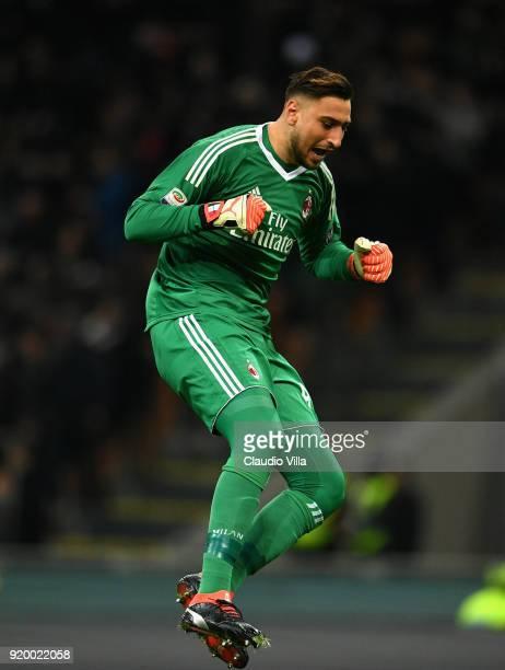 Gianluigi Donnarumma of AC Milan celebrates during the serie A match between AC Milan and UC Sampdoria at Stadio Giuseppe Meazza on February 18 2018...