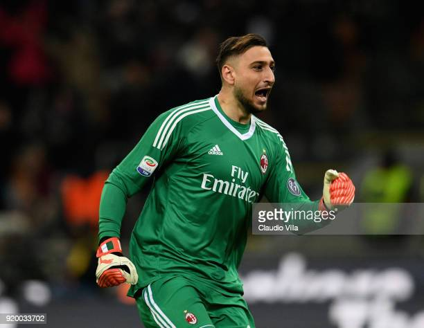 Gianluigi Donnarumma of AC Milan celebrates during the serie A match between AC Milan and UC Sampdoria at Stadio Giuseppe Meazza on February 18 2018...